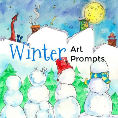 This eBook contains twelve printable art prompts for children themed around winter activities. The pictures prompt kids to finish them with crayons, paints or play-dough!
