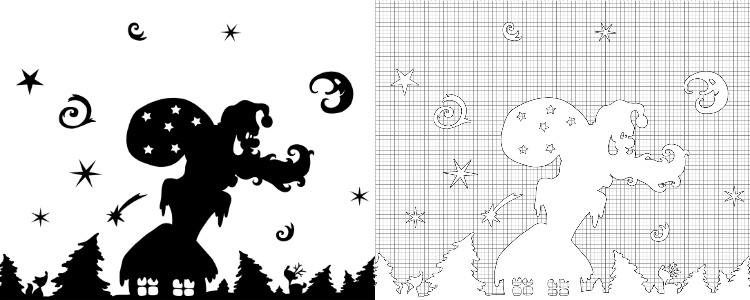 Printable Christmas Window Decorations. Each design has a black version and a white version.