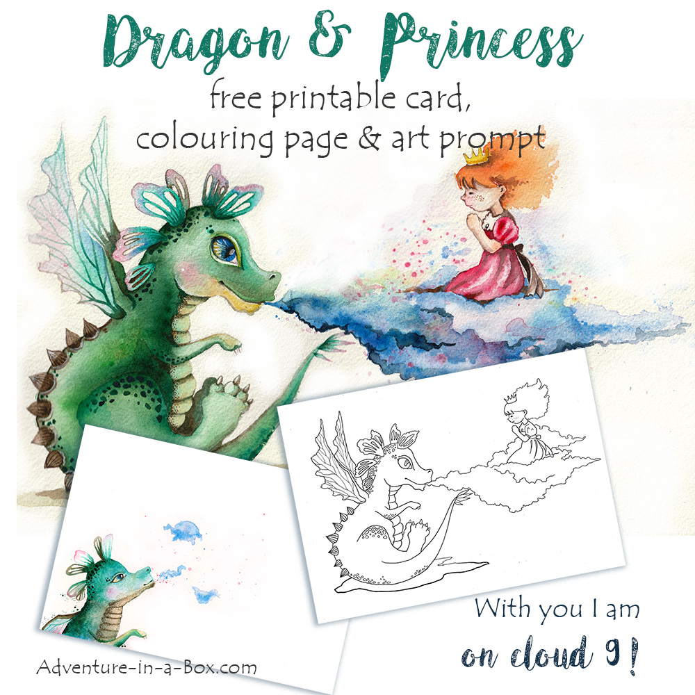Dragon & Princess Free Printable Card, Colouring Page & Art Prompt