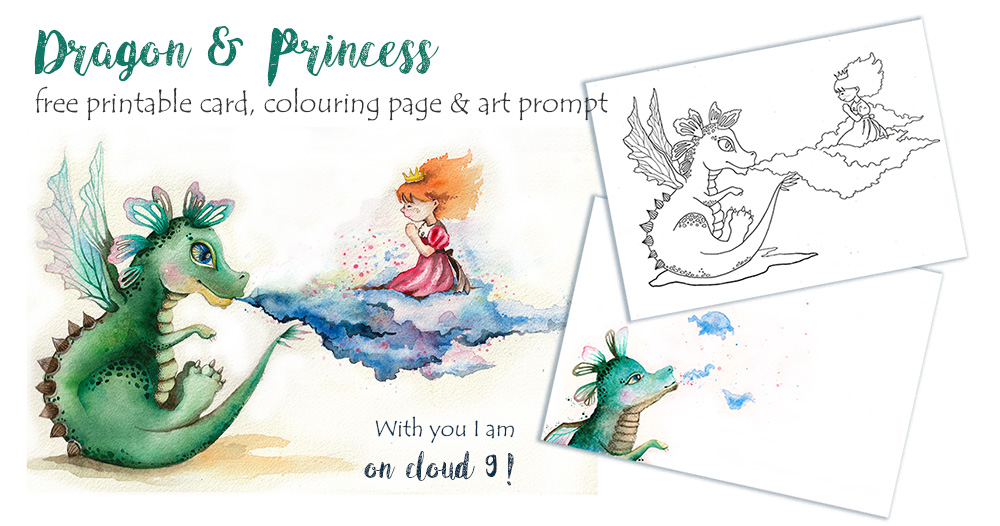Dragon & Princess: Free Printable Card, Colouring Page and Drawing Prompt