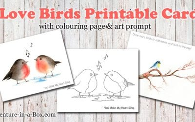 Birds: Free Printable Card, Colouring Page & Drawing Prompt