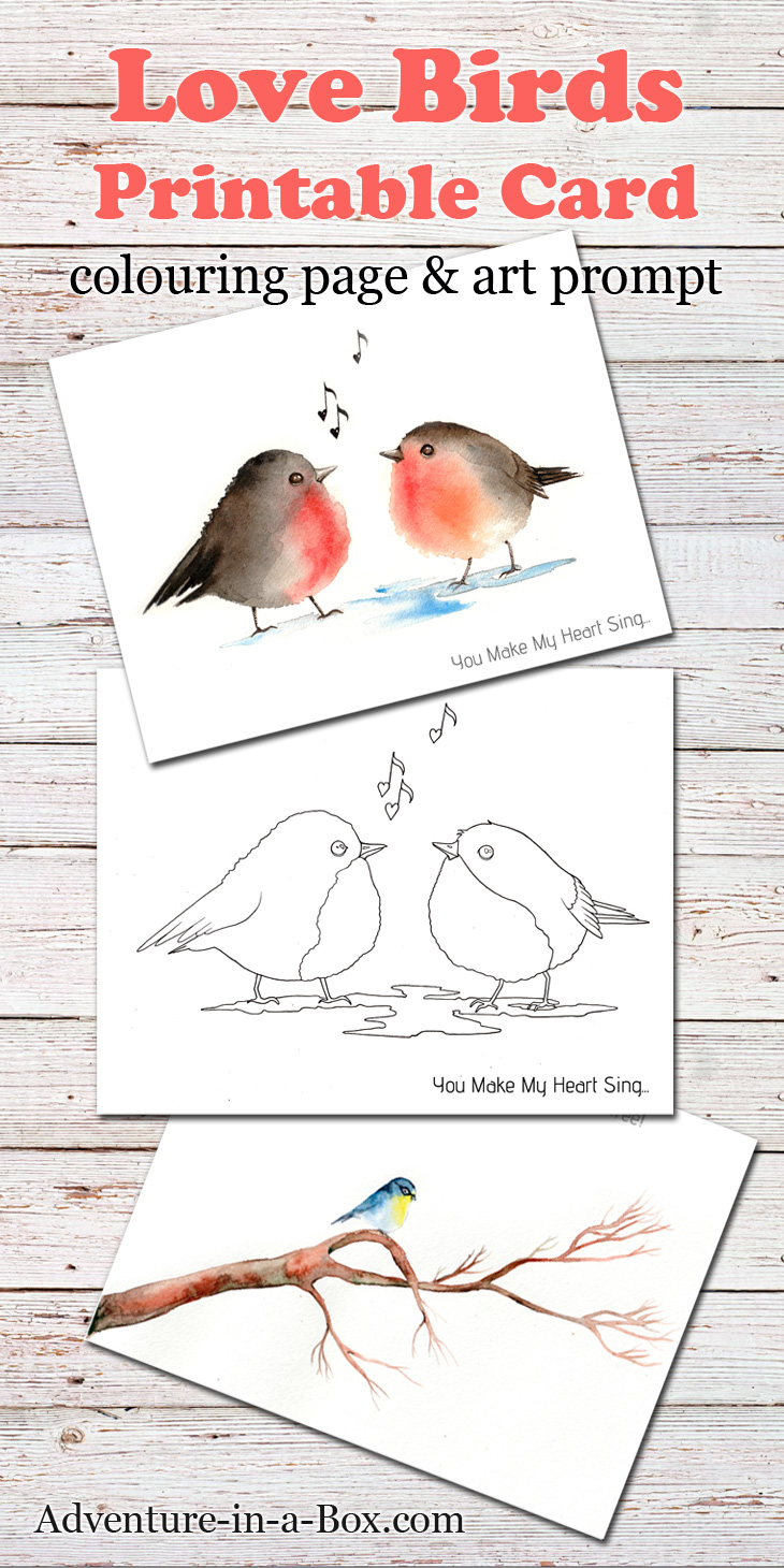 Birds Free Printable Card Colouring