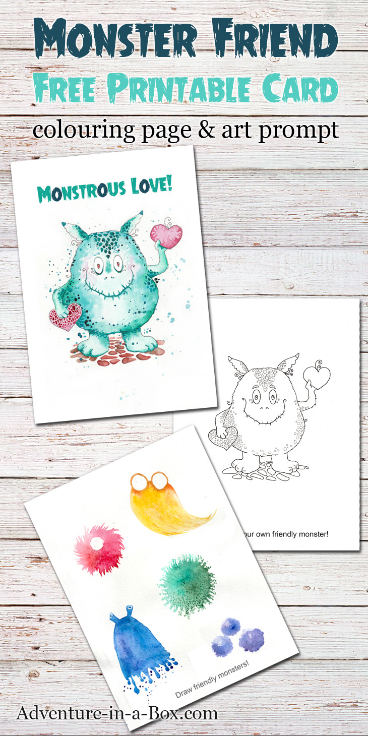 Friendly Monster: free printable card + colouring page + drawing prompt. A fun little gift that doubles as a craft for kids who like to draw! Great Valentine's day or Halloween card.