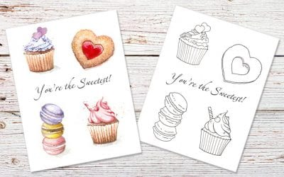 Cupcakes and Hearts: Free Printable Card & Colouring Page