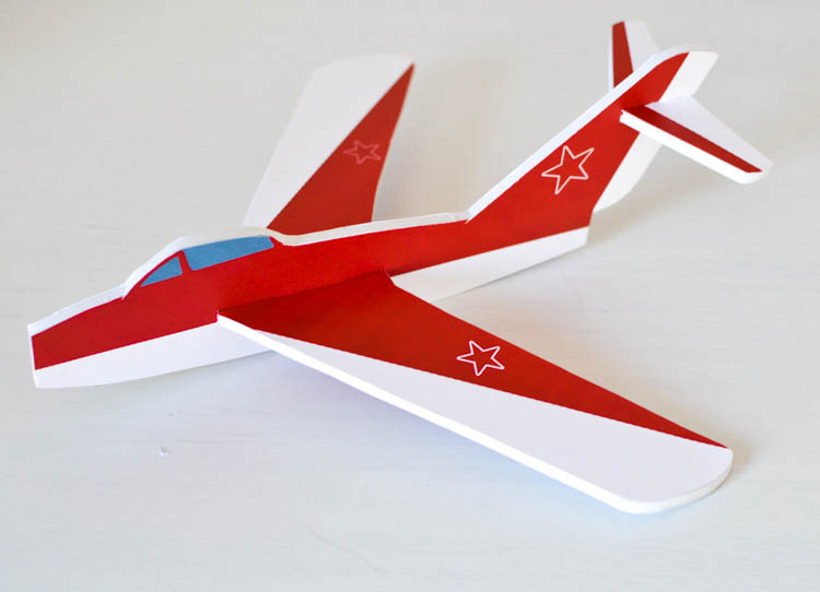 DIY Foam Glider Airplane with a Free Printable Pattern: Finished airplane!