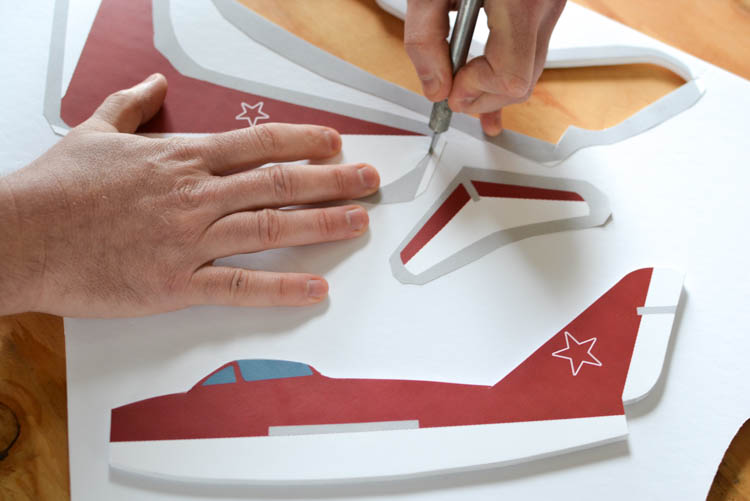 DIY Foam Glider Airplane with a Free Printable Pattern: Cutting the pieces.