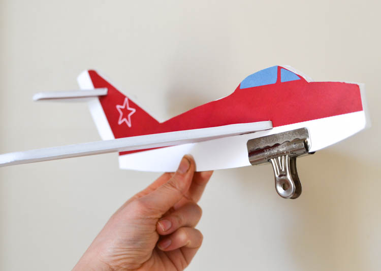 DIY Foam Glider Airplane with a Free Printable Pattern: Finding the balance.