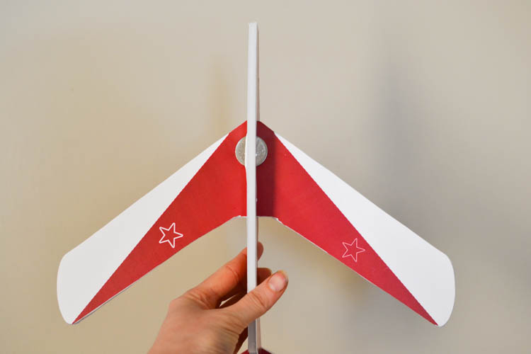 DIY Foam Glider Airplane with a Free Printable Pattern: Attaching the weight.