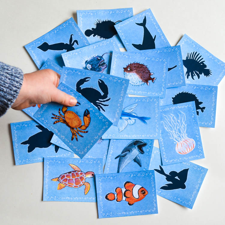 Sea animals printable memory game for kids. Sort and match animals with their silhouettes!