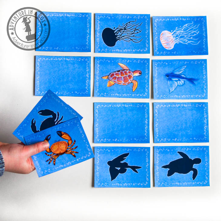 Sea animals printable memory game for kids. Match animals with silhouettes!