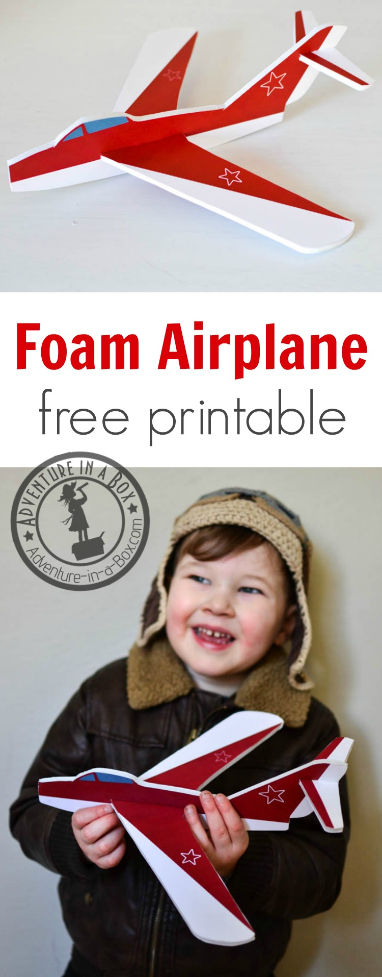 Make a handmade version of a foam glider airplane at home. With a free printable pattern, it's a quick and easy STEM craft to work on together with kids!