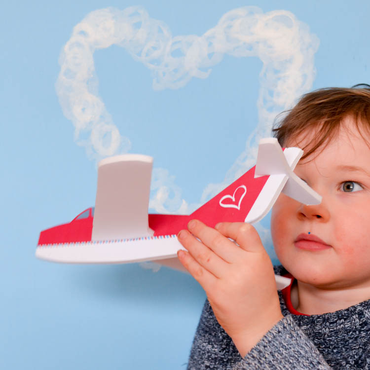 Make a handmade version of a foam glider airplane for Valentine's day. With a free printable pattern, it's a quick and easy STEM craft to work on together with kids!