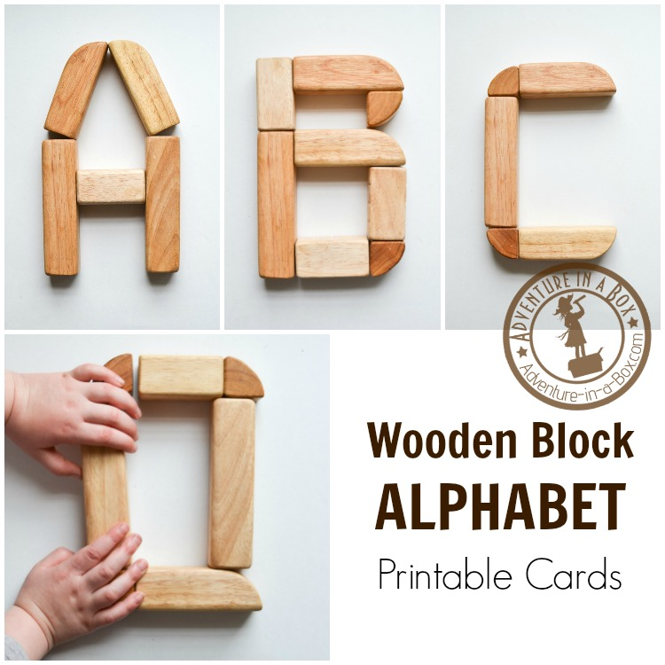 Learn the alphabet the hands-on way - by building letters with wooden blocks! Use our free printable cards for inspiration.