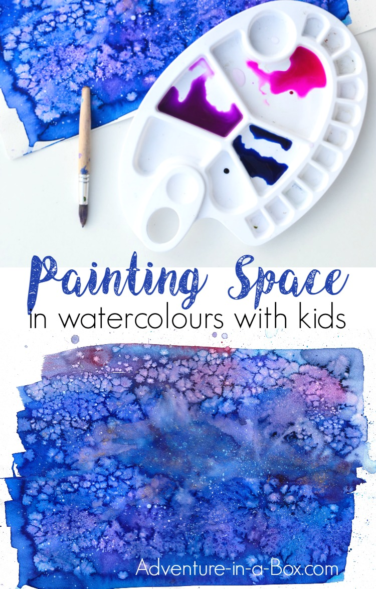 Learn how to paint space and galaxies with watercolours in a simple way and fun way that would appeal to children. This technique includes the use of pipettes, which is always a hit in our house!