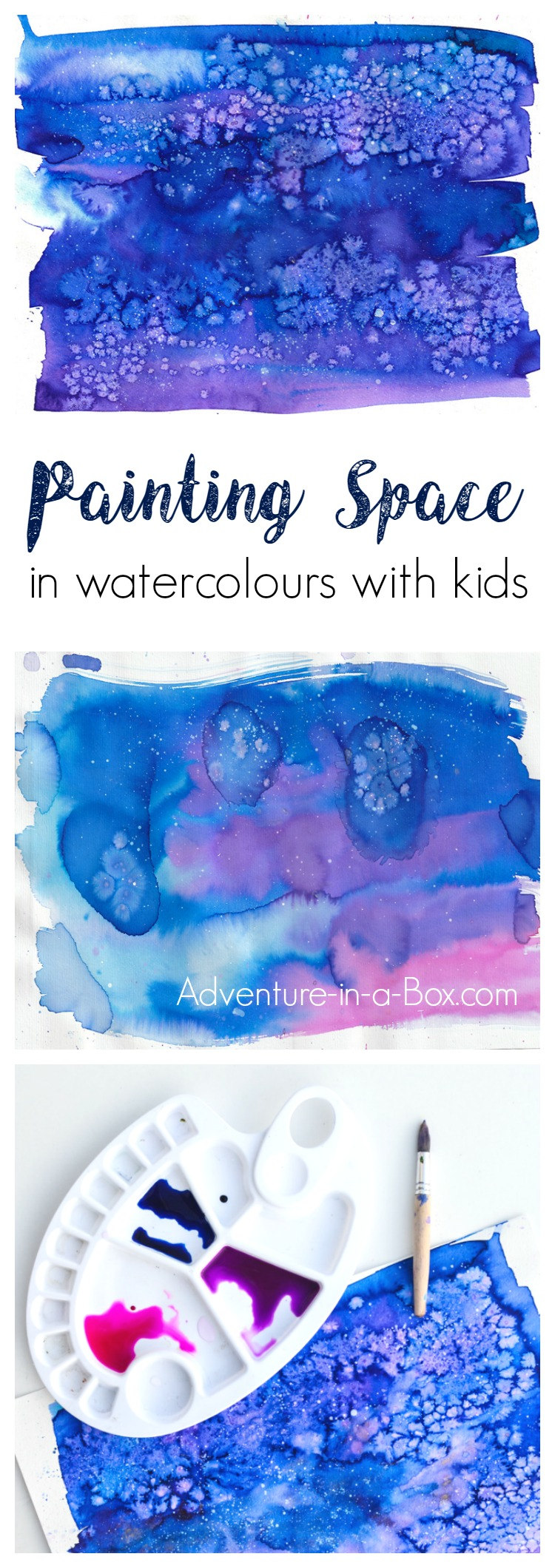 Learn how to paint space with watercolours in a simple way and fun way that would appeal to children. This technique includes the use of pipettes, which is always a hit in our house!