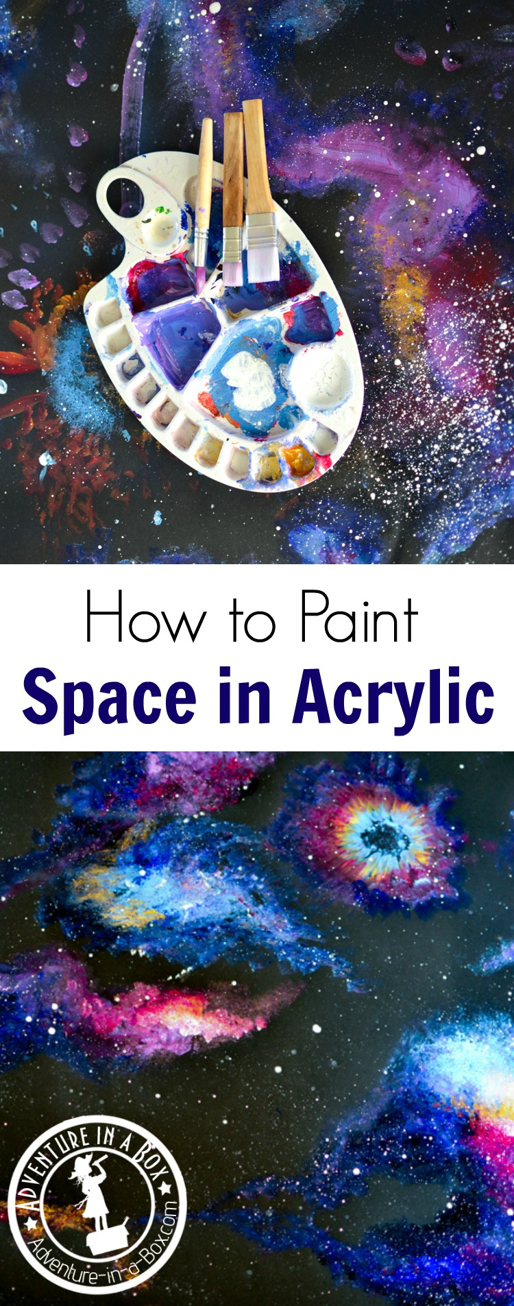 how to paint space in acrylic with kids adventure in a box. Black Bedroom Furniture Sets. Home Design Ideas