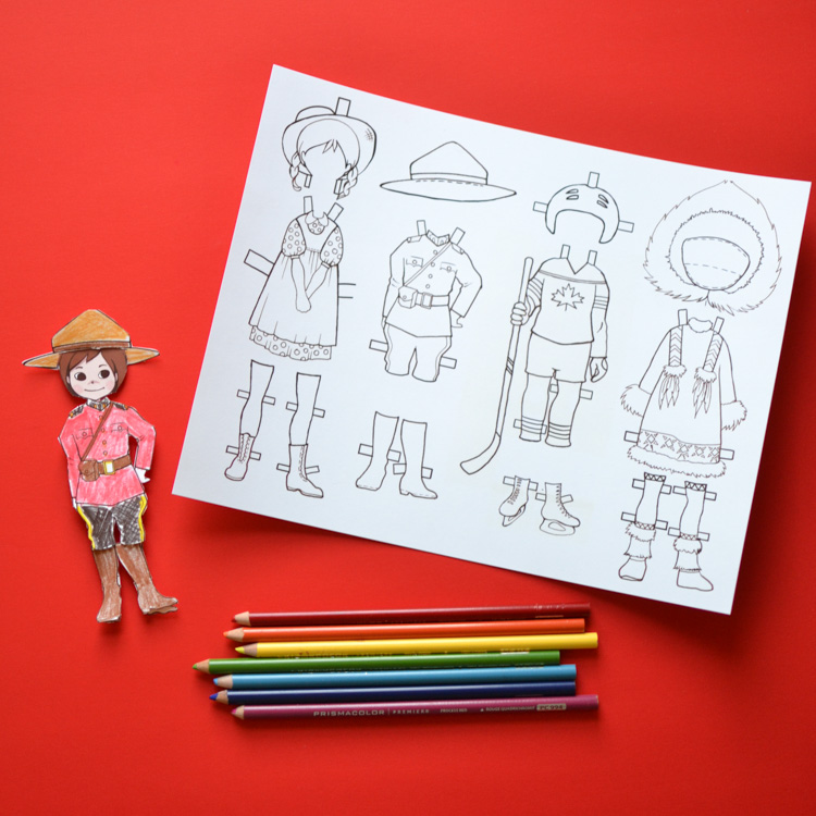 canadian dress-up paper doll  printable template with colouring pages