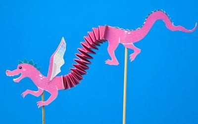 Articulated Dragon Puppet with Free Printable Template