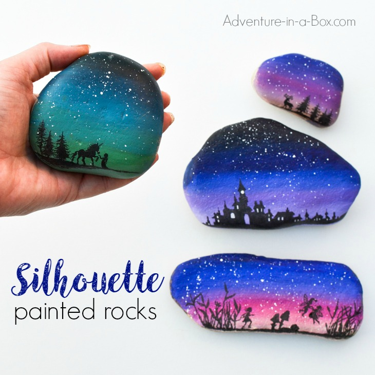 Decorate rocks with elegant landscape silhouettes drawn over the starry twilight sky!Simple rock painting technique that even kids can use.