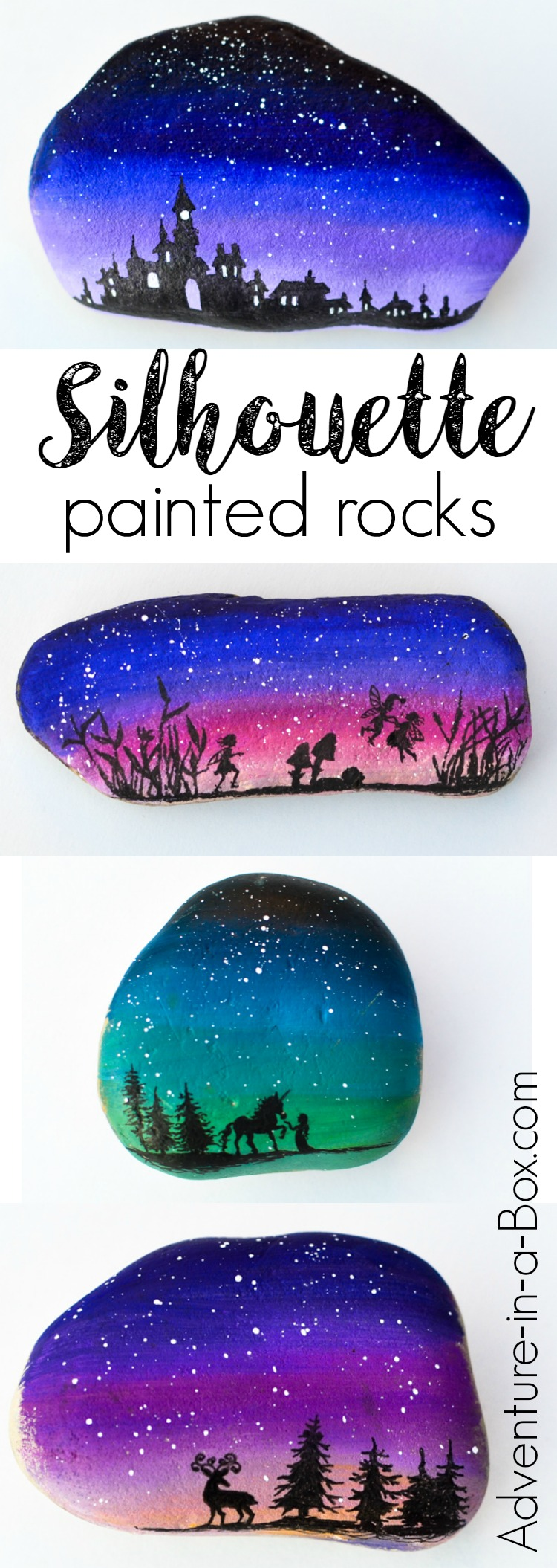 Decorate rocks with elegant landscape silhouettes drawn over the starry twilight sky! Unicorns, fairies, and enchanted castles - you can do anything.Simple rock painting technique that even kids can master.